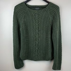 Abercrombie Fitch Green Chunky Cable Knit Sweater